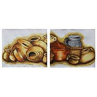 'Still Life in Terracotta' (diptych) - Set of Two Mixed Media Paintings