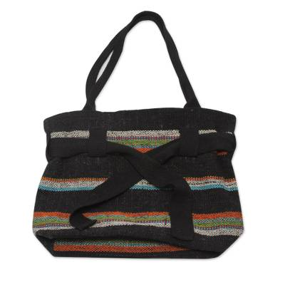 Wool shoulder bag, 'Black Cajamarca Carnival' - Fair Trade Hand Woven Shoulder Bag from Peru