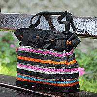 Wool shoulder bag, 'Vibrant Cajamarca Carnival' - Hand Woven Wool Shoulder Bag with 3 Pockets