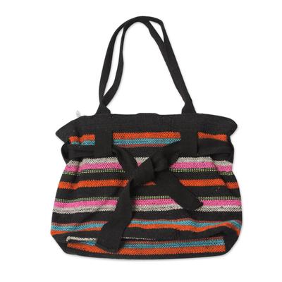 Novica Wool shoulder bag, Vibrant Cajamarca Carnival