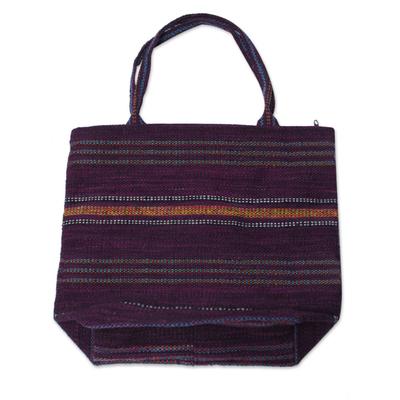 Hand Woven Purple Tote Handbag from Peru