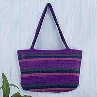 Wool shoulder bag, 'Cajamarca Lily' - Fair Trade Hand Woven Shoulder Bag from Peru