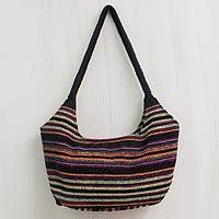 Wool hobo bag, 'Unsha Dance' - Black Wool Hand Woven Hobo Bag with 3 Pockets