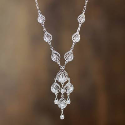 Sterling silver filigree Y-necklace, 'Sunrise Dew' - Artisan Crafted Y-Necklace in Sterling Silver Filigree Art