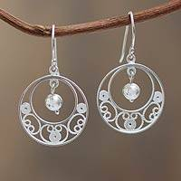 Sterling silver filigree earrings, 'Junin Glam'