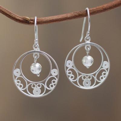 Sterling silver filigree earrings, 'Junin Glam' - Sterling Silver Filigree Earrings from Peru