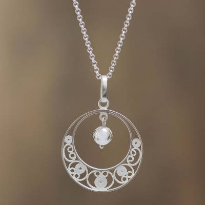Sterling silver filigree necklace, 'Junin Glam' - Peruvian Sterling Silver Filigree Necklace