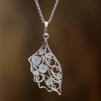 Sterling silver filigree necklace, 'Andean Nettle' - Hand Crafted Peruvian Sterling Silver Filigree Necklace
