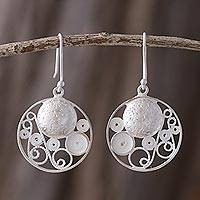 Sterling silver filigree earrings, 'Circular Harmony' - Artisan Crafted Sterling Silver Filigree jewellery Earrings