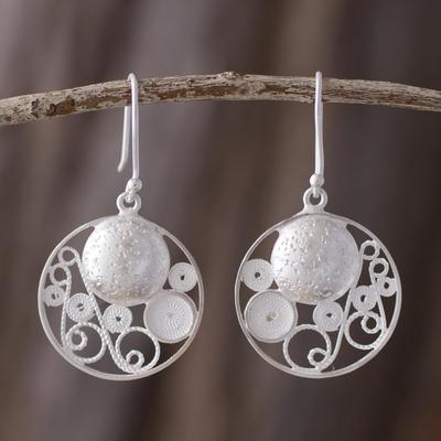 Sterling silver filigree earrings, 'Circular Harmony' - Artisan Crafted Sterling Silver Filigree jewellery Earrings