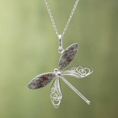 Sterling silver filigree necklace, 'Poised Dragonfly' - Sterling Silver Filigree Pendant Necklace and Copper Accents