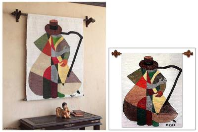 Wool tapestry, 'The Harp Player' - Cubist Tapestry Wall Hanging Hand Loomed in Peru