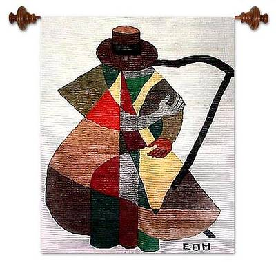 Cubist Tapestry Wall Hanging Hand Loomed in Peru