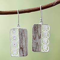 Sterling silver filigree earrings, 'Bold Contrasts' - Andean Silver Filigree Hook Earrings
