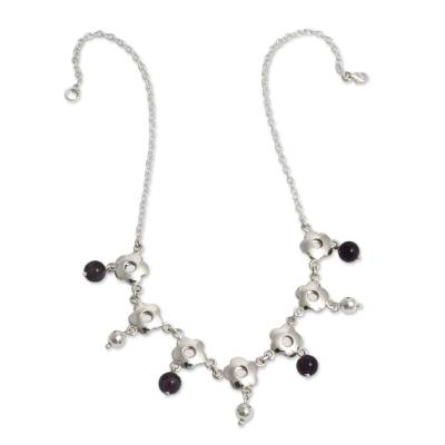Handcrafted Silver Floral Necklace with Amethysts