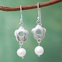 Cultured pearl dangle earrings, 'Flower Shower' - Handcrafted Silver Floral Earrings with Cultured Pearls