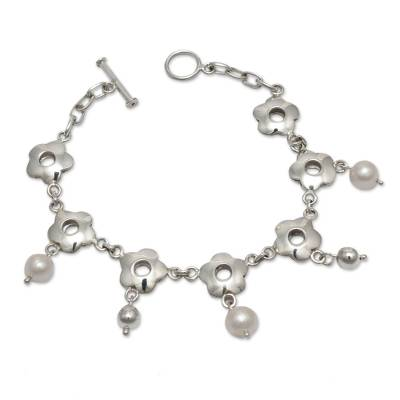 Handcrafted Silver Floral Bracelet with Cultured Pearls