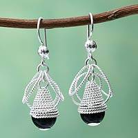Obsidian and sterling silver dangle earrings, 'Diaphanous' - Handcrafted Coiled Silver Earrings with Black Obsidian