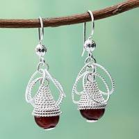 Agate dangle earrings, 'Diaphanous' - Handcrafted Coiled Silver Earrings with Red Agate