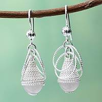 Quartz dangle earrings, 'Diaphanous' - Handcrafted Coiled Silver Earrings with White Quartz