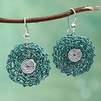 Sterling silver flower earrings, 'Verdant Blooms' - Hand Crocheted Floral Earrings from Peru with Silver Hooks