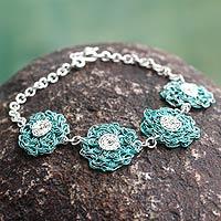 Sterling silver flower bracelet, 'Verdant Blooms' - Crochet Style Floral Sterling Silver Bracelet from Peru