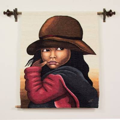 Wool tapestry, 'The Girl' - Wool Blend Tapestry Woven Wall Hanging