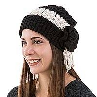 Alpaca blend hat, 'Black Rose' - Black and White Alpaca Blend Roaring 20s Knit Hat