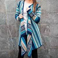 100% alpaca cardigan, 'Stellar Blue' - 100% Alpaca Open Front Cardigan in Shades of Blue