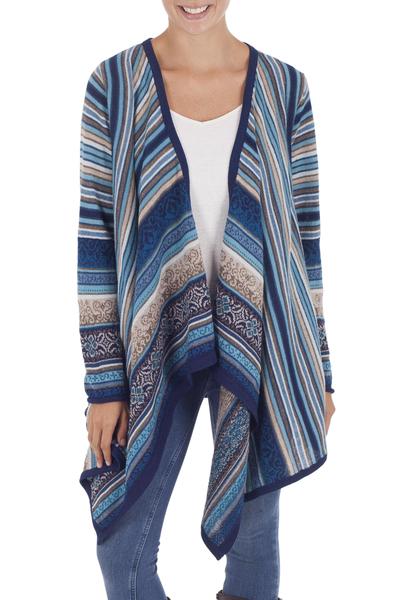 100% alpaca cardigan, 'Stellar Blue' - 100% Alpaca Open Front Cardigan in Shades of Blue