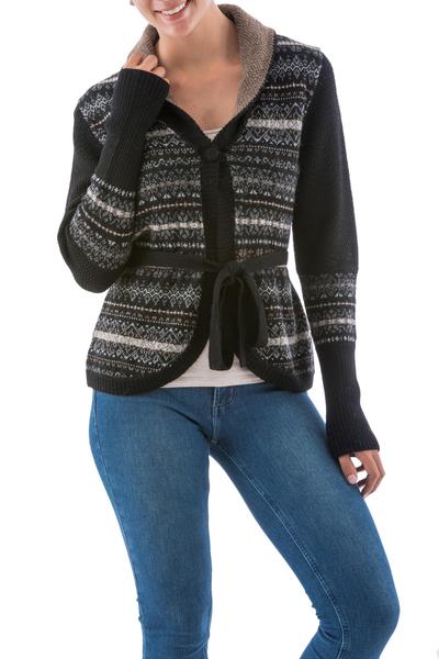 100% alpaca cardigan, 'Midnight Medley' - Black Alpaca Cardigan with White and Brown Motifs