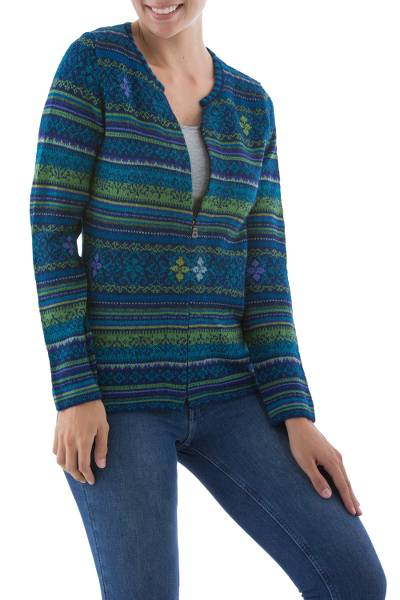 100% alpaca cardigan, 'Amazonian Wonder' - Blue Green Alpaca Cardigan Women's Fair Trade Apparel