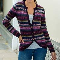 100% alpaca cardigan, 'Berry Style' - Purple Pink Alpaca Cardigan with Geometric Patterns