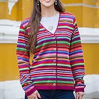 100% alpaca cardigan, 'Andean Wonderland' - Peruvian 100% Alpaca Cardigan with Multi colour Stripes