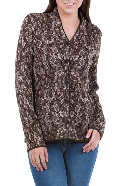 100% alpaca jacket, 'Andes Camouflage' - Brown Beige Patterned Knit Alpaca Jacket Sweater