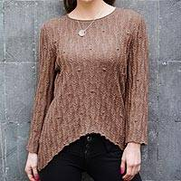 100% alpaca tunic, 'Cinnamon Dreams' - Brown 100% Alpaca Tunic Sweater from Peru