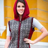 Alpaca hooded vest, 'Floral Glory' - Peruvian Artisan Crafted 100% Alpaca Hooded Floral Vest