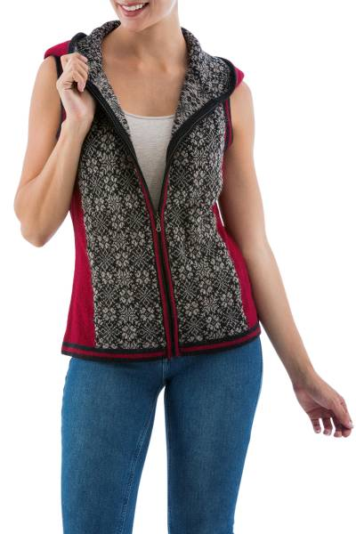 Alpaca hooded vest, 'Floral Glory' - Peruvian Artisan Crafted 100% Alpaca Hooded Floral Vest
