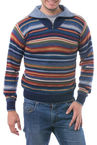 Men's 100% alpaca pullover sweater, 'Steel Blue Heights' - Men's 100% Alpaca Pullover Sweater with Turtleneck