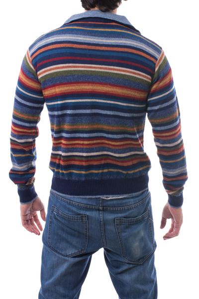 Men S 100 Alpaca Pullover Sweater With Turtleneck Steel Blue