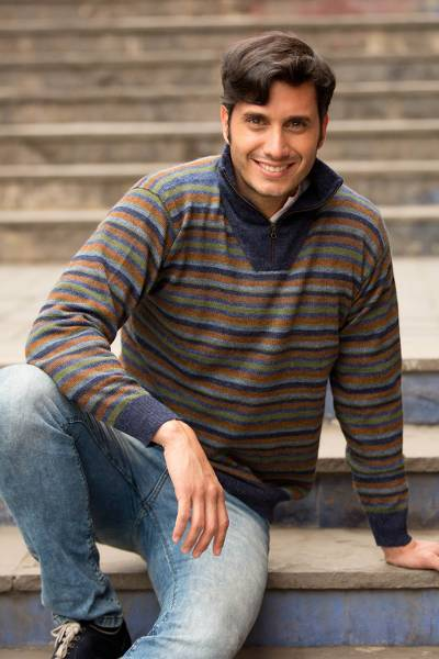 Men's 100% alpaca pullover sweater, 'Grey Heights' - Blue Grey 100% Alpaca Men's Turtleneck Pullover Sweater