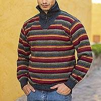 Men's 100% alpaca pullover sweater, 'Blue Heights'