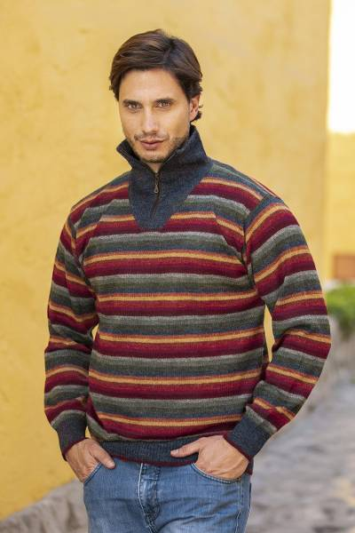 Men's 100% alpaca pullover sweater, 'Blue Heights' - Men's Striped Multicolor Alpaca Turtleneck Pullover Sweater