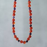 Carnelian and amethyst beaded necklace, 'Radiant Love' - Handmade Peruvian Carnelian and Amethyst Bead Necklace