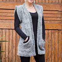 Baby alpaca blend cardigan vest, 'Grey Boucle' - Grey Baby Alpaca Blend Short Sleeve Cardigan from Peru
