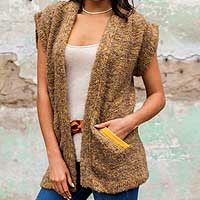 Alpaca blend cardigan vest, 'Brown Boucle' - Andean Baby Alpaca Blend Boucle Short Sleeve Brown Sweater