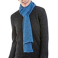 Alpaca blend scarf, 'Ayacucho Sky' - Artisan Crafted Blue Knitted Alpaca Blend Scarf