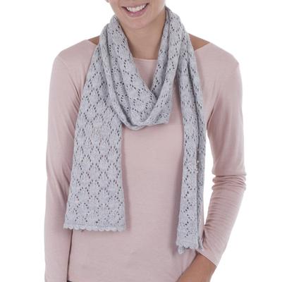 Alpaca blend scarf, 'Ayacucho Mist' - Artisan Crafted Grey Knitted Alpaca Blend Scarf