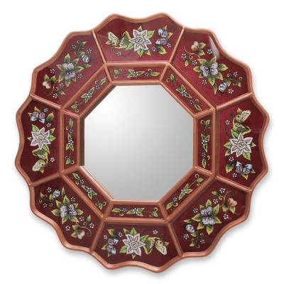 Burgundy Floral Reverse Painted Glass Wall Mirror