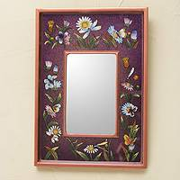 Reverse painted glass mirror, 'Purple Meadow' - Vibrant Purple Collectible Reverse Painted Glass Mirror